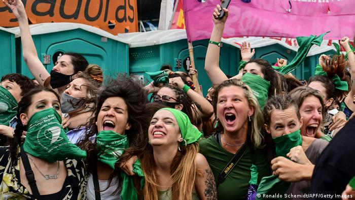 Women protesters wearing green in Buenos Aires