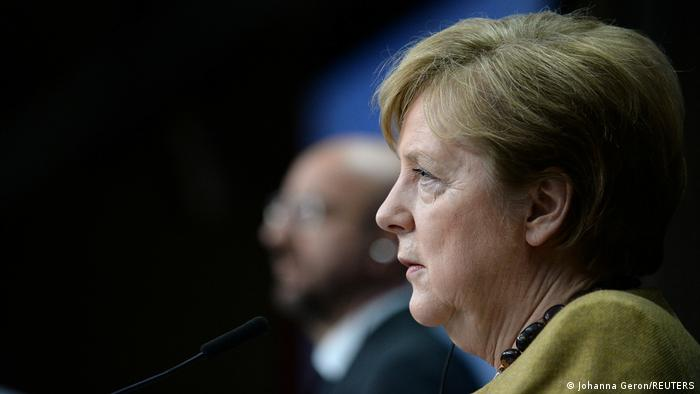 المستشارة الألمانية أنغيلا ميركل في قمة الاتحاد الأوروبي في بروسكل