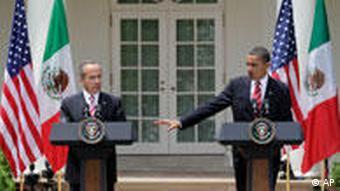 President Obama with Mexico's President Felipe Calderon in the Rose Garden of the White House