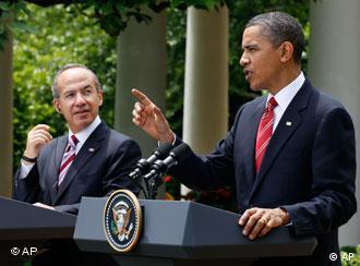 Presidente de EE.UU., Barack Obama, y presidente de México, Felipe Calderon, en Washington en mayo pasado