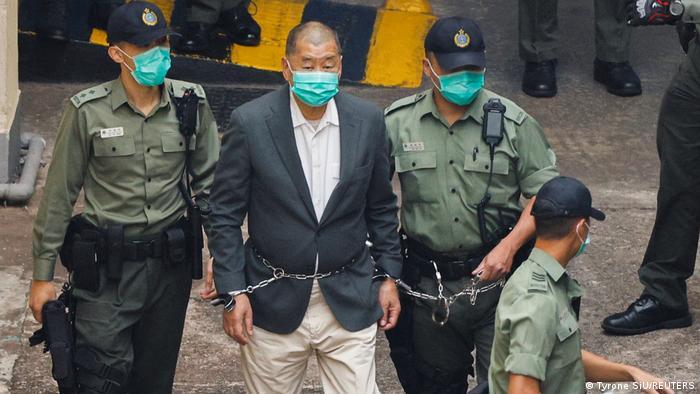 Hongkonger media mogual and democratic activist Jimmy Lai in police custody in December 2020