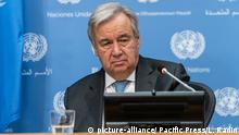 UN Secretary General Antonio Guterres giving a press conference