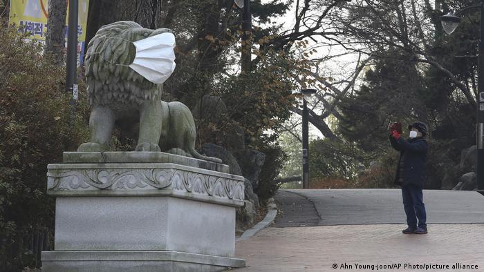 BdTD Südkorea | Löwenstatue mit einer Gesichtsmaske