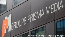 PARIS, FRANCE - MAY 05: The Logo of Prisma Media Group is seen on the Publishing house's facade facade on May 5, 2014 in Gennevilliers outside Paris, France. (Photo by Pascal Le Segretain/Getty Images)