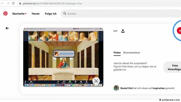 Screenshot der Plattform Pinterest: Das letztes Abendmahl über Zoom