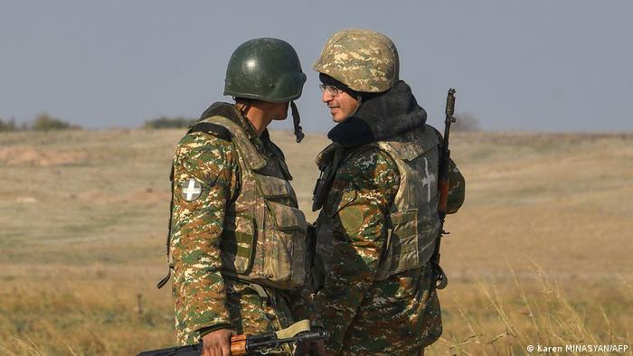 Armenian soldiers at the ceasefire line between Armenia and Azerbaijan.