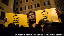 At 7:41 PM on 25 January, dozens of Italian squares will be held in torchlight in memory of Giulio Regeni, whose disappearance took place in 2016 in Egypt, near the Cairo capital. Present at the event the President of the Chamber of Deputies Laura Boldrini. (Photo by Michele Amoruso/Pacific Press)