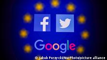 Facebook, Twitter and Google logos displayed on a phone screen and European Union flag displayed on a screen in the background are seen in this multiple exposure illustration photo taken in Poland on June 14, 2020. European Commission officials said that Facebook, Twitter and Google should provide monthly fake news reports to prevent fake news about coronavirus pandemic. (Photo Illustration by Jakub Porzycki/NurPhoto)