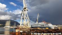 Polar-Cruiser und das größte Segelschiff der Welt in der Werft Brodosplit, Split, Kroatien. Foto: Nikolina Tomasovic Bock/DW