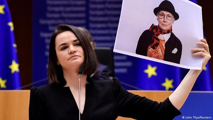 Sviatlana Tsikhanouskaya during her speech to accept the Sakharov Prize in December 2020