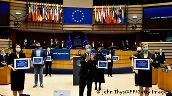 Вручение представителям белорусской оппозиции премии Сахарова в Европарламенте
