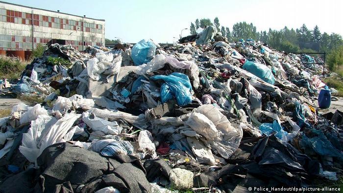 An illegal waste dump in northwestern Poland
