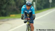 Dezember 2020, Kolumbien, Juan José Florian ist kolumbianischer Radfahrer und will bei den Paralympics 2021 in Tokio antreten. Sein Spitzname: Mochoman. Durch eine Bombe der FARC-Guerilla verlor er beide Arme und ein Bein. Copyright liegt bei Movistar Colombia, das Telekommunikationsunternehmen sponsert ihn. // Redaktion: Oliver Piper