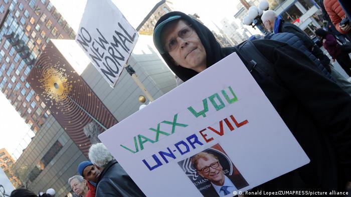 Protesto antivacina em Nova York