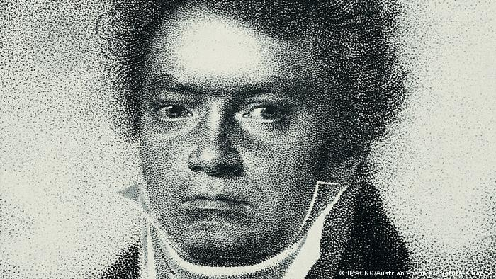 A copper engraving of Ludwig van Beethoven from 1814