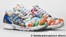 Handout photo dated September 23, 2020 of Adidas has produced a new pair of classic ZX8000 shoes that are expected to fetch up to US$1 million at auction. The new 'Porcelain' design was released in conjunction with Meisssen, which is a historic luxury pottery-maker that has existed since 1708. The shoes are made of hand-painted leather, and then overlaid with a razor-thin porcelain veneer. It depicts 15 patterns that is found on Meissen's Krater Vase – which is so complicated to make the porcelain marquis can only produce two per year. It took more than a year to develop the sneaker, and then a further six months to create it by hand by four Meissen painters. The shoes will hit the auction block at Sotheby's later today, with all proceeds going to local youth art programs. Photo by Sotheby's via ABACAPRESS.COM