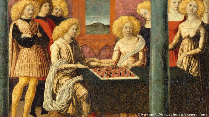 Painting entitled the chess Players, shows chess players and onlookers
