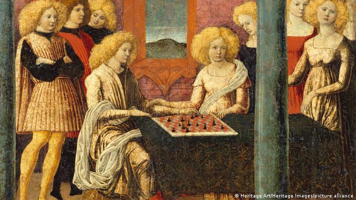 Gemälde Die Schachspieler von Liberale da Verona (circa 1475)