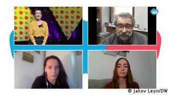 Beim Panel zu Pressefreiheit des Brave New Media Forums 2020 spricht DW-Moderatorin Jovana Gligorijević (o. l.) mit Zoran Sekulić (o. r.), Ana Lalić (u.l.) und Nerma Džaferović (u. r.).
