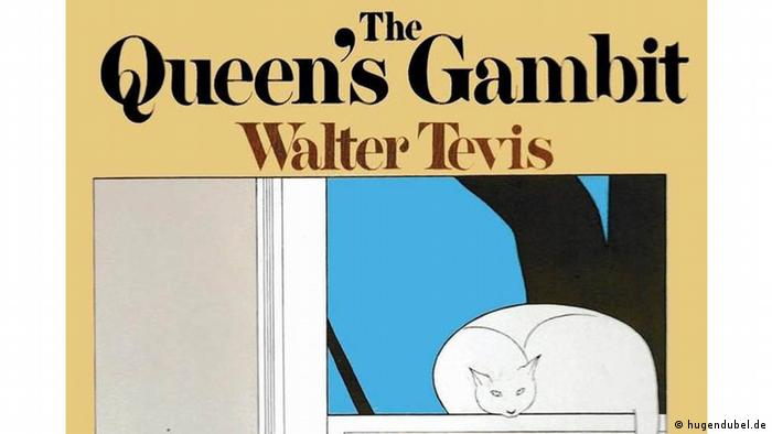Book cover The Queen's Gambit byn Walter Tevis, shows a drawing of a woman leaning on a table, watching a hand make a chess move