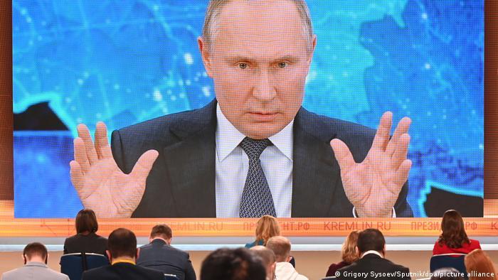 O presidente da Rússia, Vladimir Putin, em coletiva de imprensa