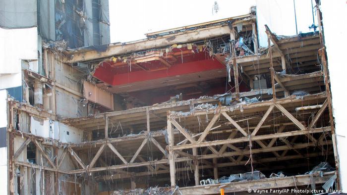 View of decrepit Trump Plaza Casino in Atlantic City