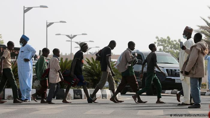 Freed Nigerian schoolboys after being rescued by security forces in Katsina, Nigeria