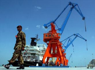 A Pakistani solider at the Chinese-built Gwadar port
