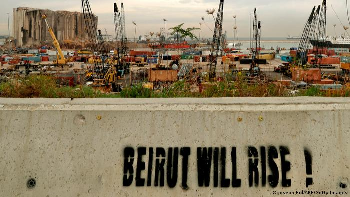 Graffiti near Beirut's port, that says: Beirut will rise.