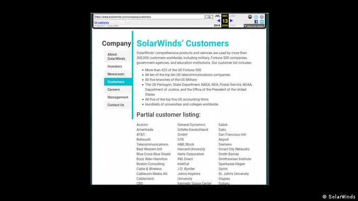 Screenshot US Netzwerkfirma SolarWinds Kundenliste