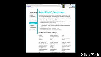 Список клиентов SolarWinds