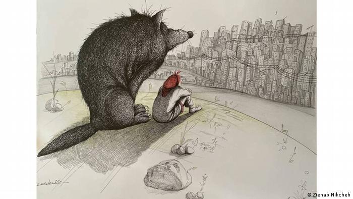 در کار زینب نیکچه گرگ از آدمها ترسی ندارد. این حیوان رام نشدنی و وحشی سایه خود را بر دخترک شهر انداخته و در جایگاه حامی و مامن او قرار داده است.