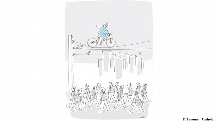 راه برای زن دوچرخهسواری سمانه روحالهی در این کارتون ناهموار است و نگاه خیره افراد شهر را برای حضور او ناامن کردهاست. پس زن دوچرخهسوار با حرکت بر کابل برق شهر نه تنها مردان عابر بلکه پرندگان را هم متعجب کرده است.