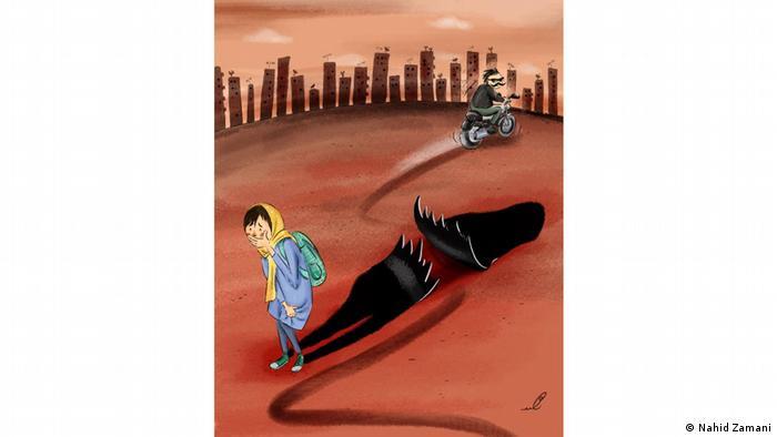 ناامنی که مردان عربدهکش برای زنان دوچرخهسوار بوجود میآورند. کارتونیست: ناهید زمانی