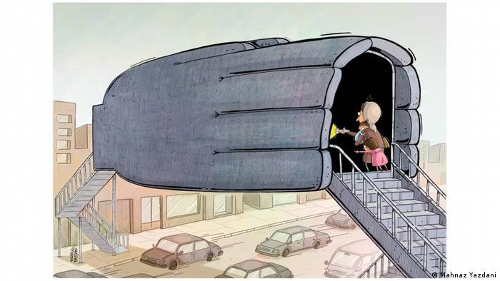 کارتونیستهای زن ترس و نگرانی زنان را هنگام عبور از گذرگاههای درون شهری و یا عبور از پلهای عابرپیاده ترسیم کردند. کارتونیست: مهناز یزدانی