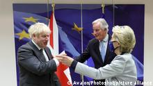 09/12/2020. Brussels, United Kingdom. Boris Johnson meets with Ursula von Der Leyen. Brussels. The Prime Minister Boris Johnson with Ursula von Der Leyen and Michel Barnier after their dinner at the European Commission in Brussels to continue with Brexit talks., Credit:Avalon / Avalon