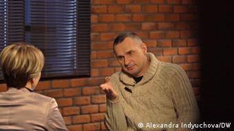 Олег Сенцов во время интервью DW