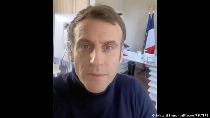 Frankreichs Staatspräsident Emmanuel Macron (hier im vergangenen Monat im Homeoffice)