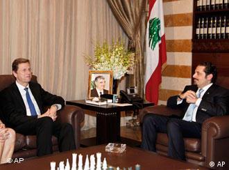 دیدار و گفتوگوی سعد حریری، نخستوزیر لبنان، با گیدو وستروله، وزیر امورخارجه آلمان در بیروت