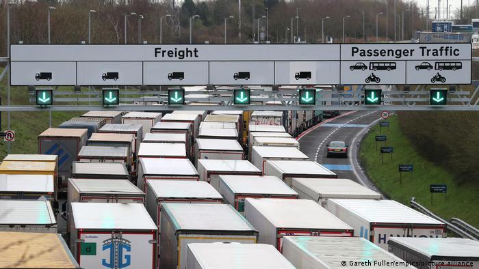 Trucks enter the Eurotunnel site in Folkestone, Kent.