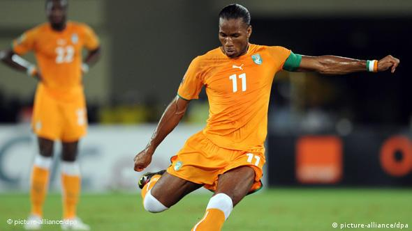 Didier Drogba of Ivory Coast in action