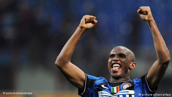 Samuel Eto'o celebrates after scoring for Inter Milan against Juventus in April 2010