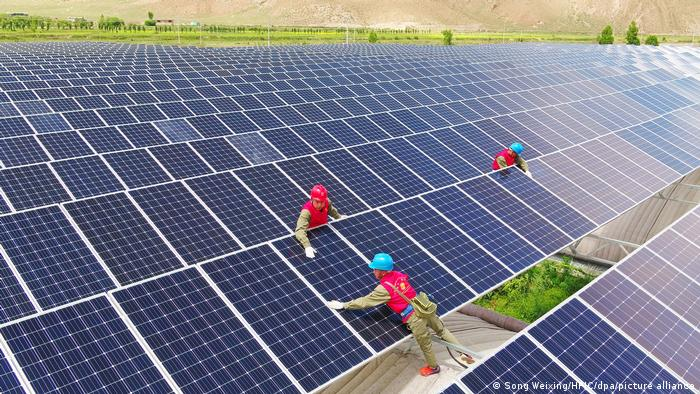 Workers install solar panels in a solar field.