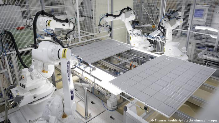Solar panels being produced at a factory in Germany