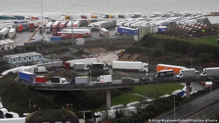 A queue of trucks and freight vehicles at the port of Dover in Southeast England. Archive image from December 2020.
