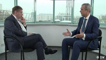 Павел Латушко и Константин Эггерт во время интервью