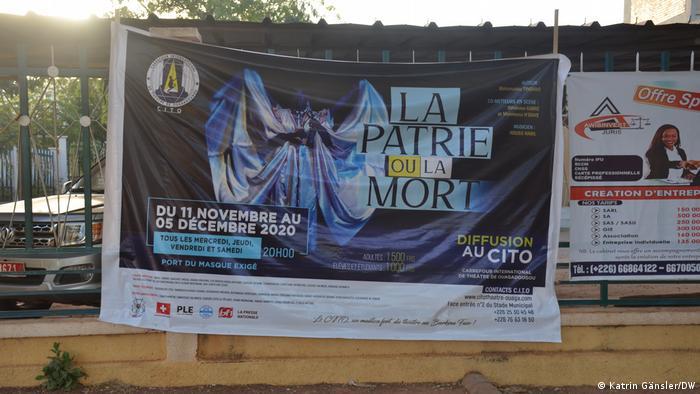 A poster for the play La Patrie ou la Mort in Ouagadougou, Burkina Faso