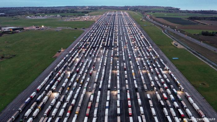 an aerial shot of thousands of lorries stuck in the UK