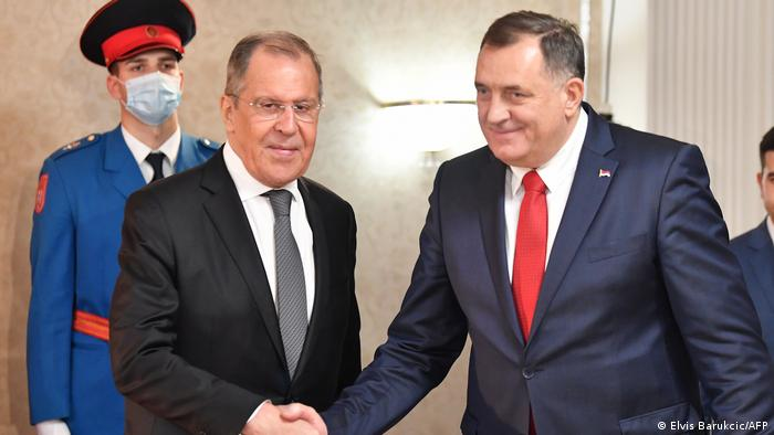 Bosnien und Herzegowina Treffen russischer Außenminister Sergej Lawrow mit Milorad Dodik