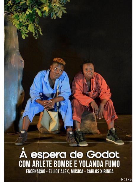 Werbeplakat Theaterstück Warten auf Godot - Mosambik